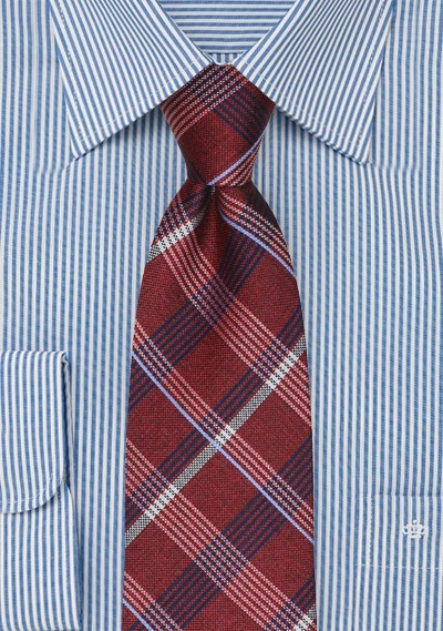 Plaid Tie in Red and Navy