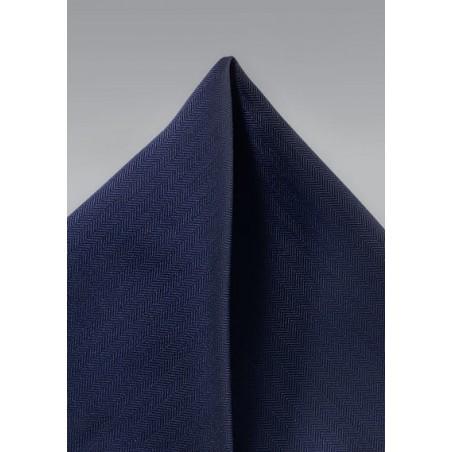 Dark Navy Herringbone Pocket Square
