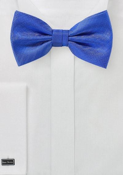 Marine Blue Herringbone Bow Tie