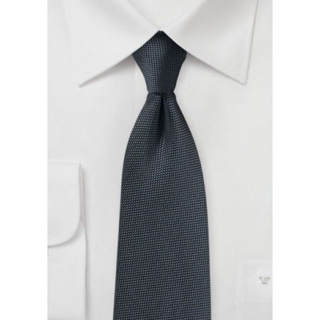 Solid Matte Texture Tie in Charcoal