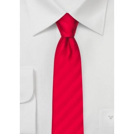 Bright Red Striped Skinny Tie