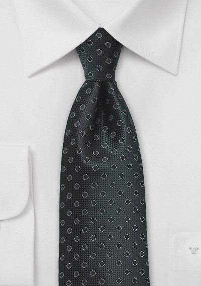 Jet Black Polka Dot Tie in Kids Length