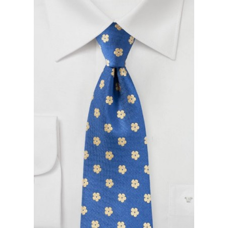 Floral Tie in Blue and Yellow