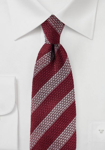 Vintage Stripe Silk Tie in Burgundy