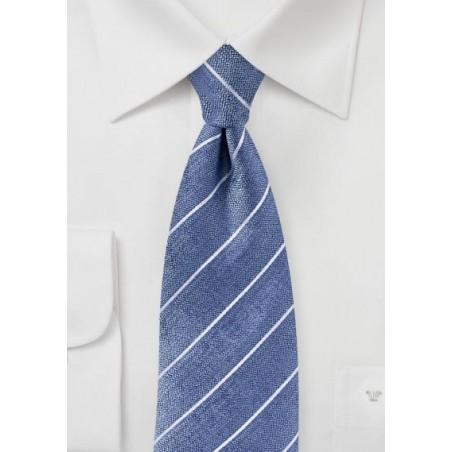 Raw Silk Tie in Denim Blue