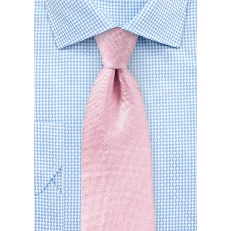 Peony Pink Matte Woven Silk Tie