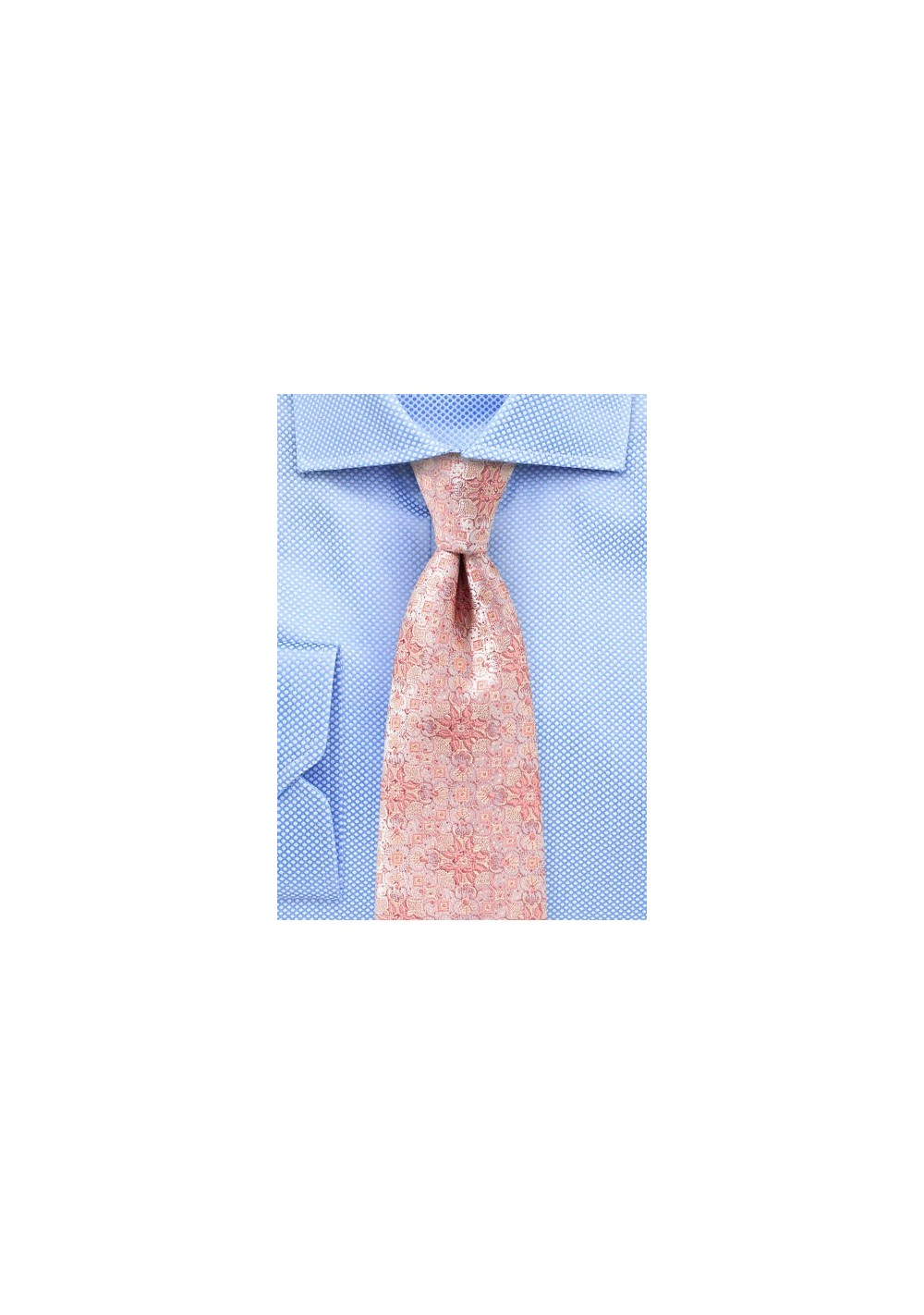 Peach Pink Medallion Weave Silk Tie