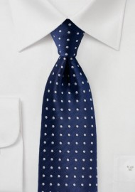 Navy and Silver Dot Design Tie