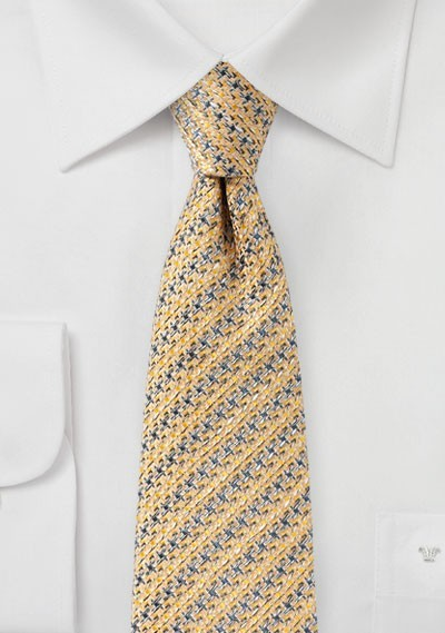 Golden Cream Designer Houndstooth Check Tie