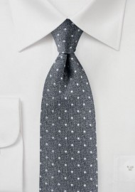 Textured Polka Dot Tie in Classic Gray