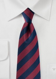 Navy and Burgundy Repp Striped Tie