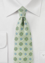 Textured Pale Green Floral Tie