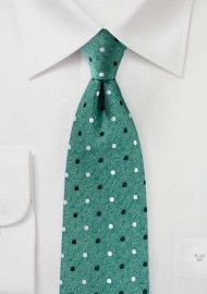Bottle Green Tie with Dots in Silver and Charcoal
