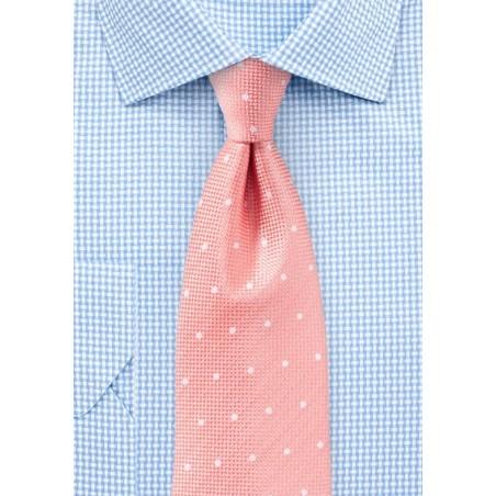 Matte Polka Dot Tie in Peach Pink