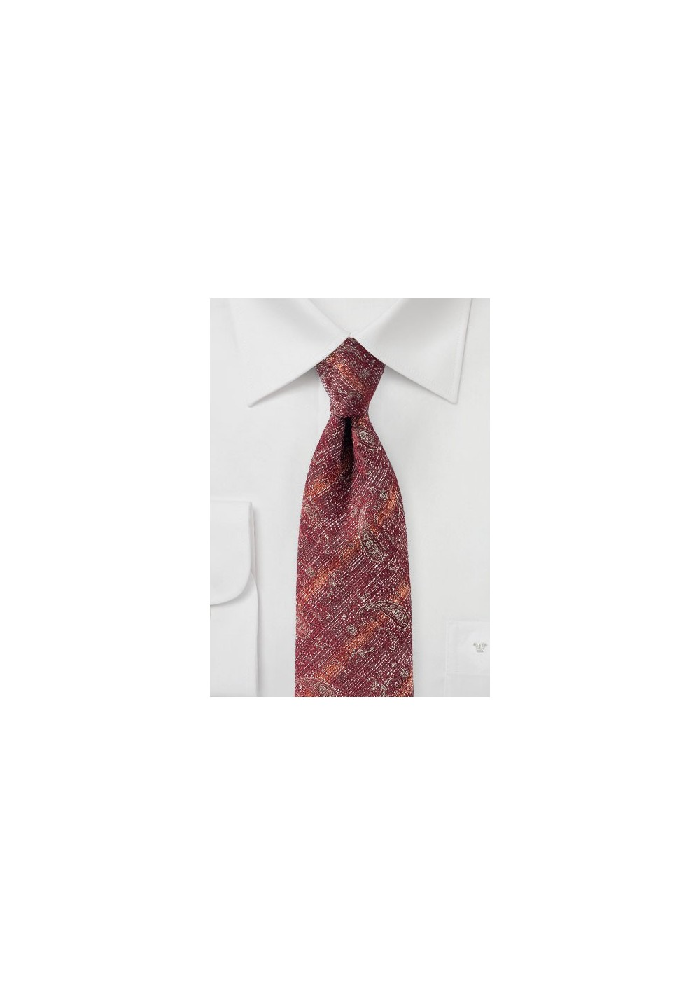 Faded Paisley Tie in Cinnabar Red
