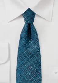 Teal Blue Textured Plaid Tie