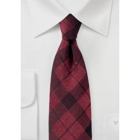 Wine Red Tartan Plaid Tie in Cotton