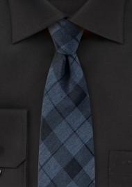 Slate Blue Tartan Plaid Cotton Tie