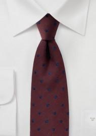 Maroon Wool Polka Dot Tie
