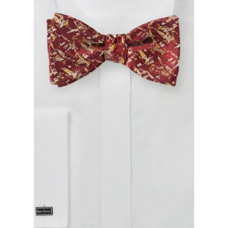 Red and Gold Abstract Art Bow Tie