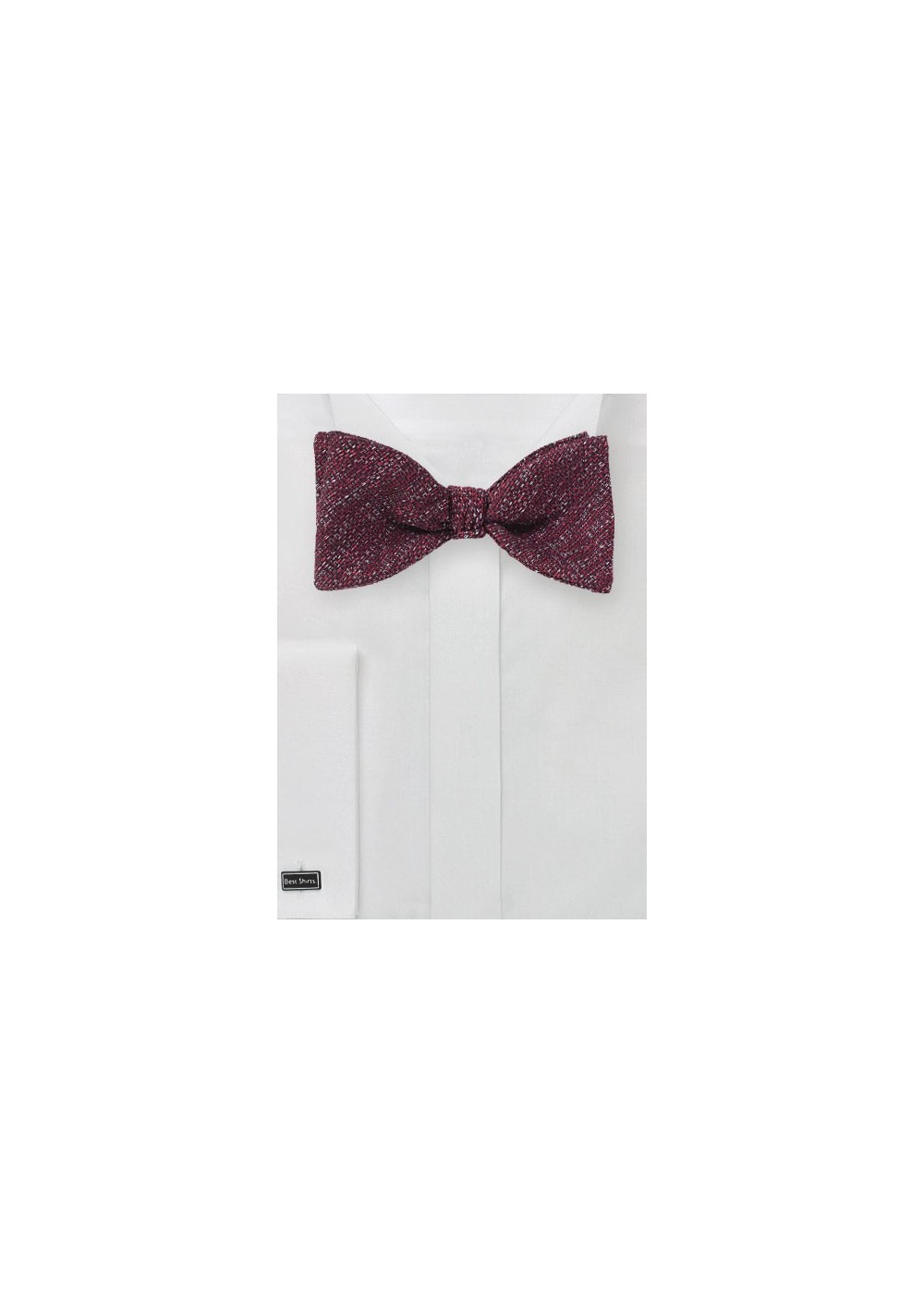 Textured Seld-Tie Bow Tie in Burgundy