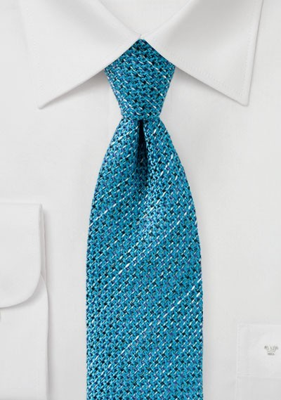 Textured Woven Tie in Turquoise