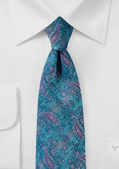 Faded Paisley Tie in Teal and Pink
