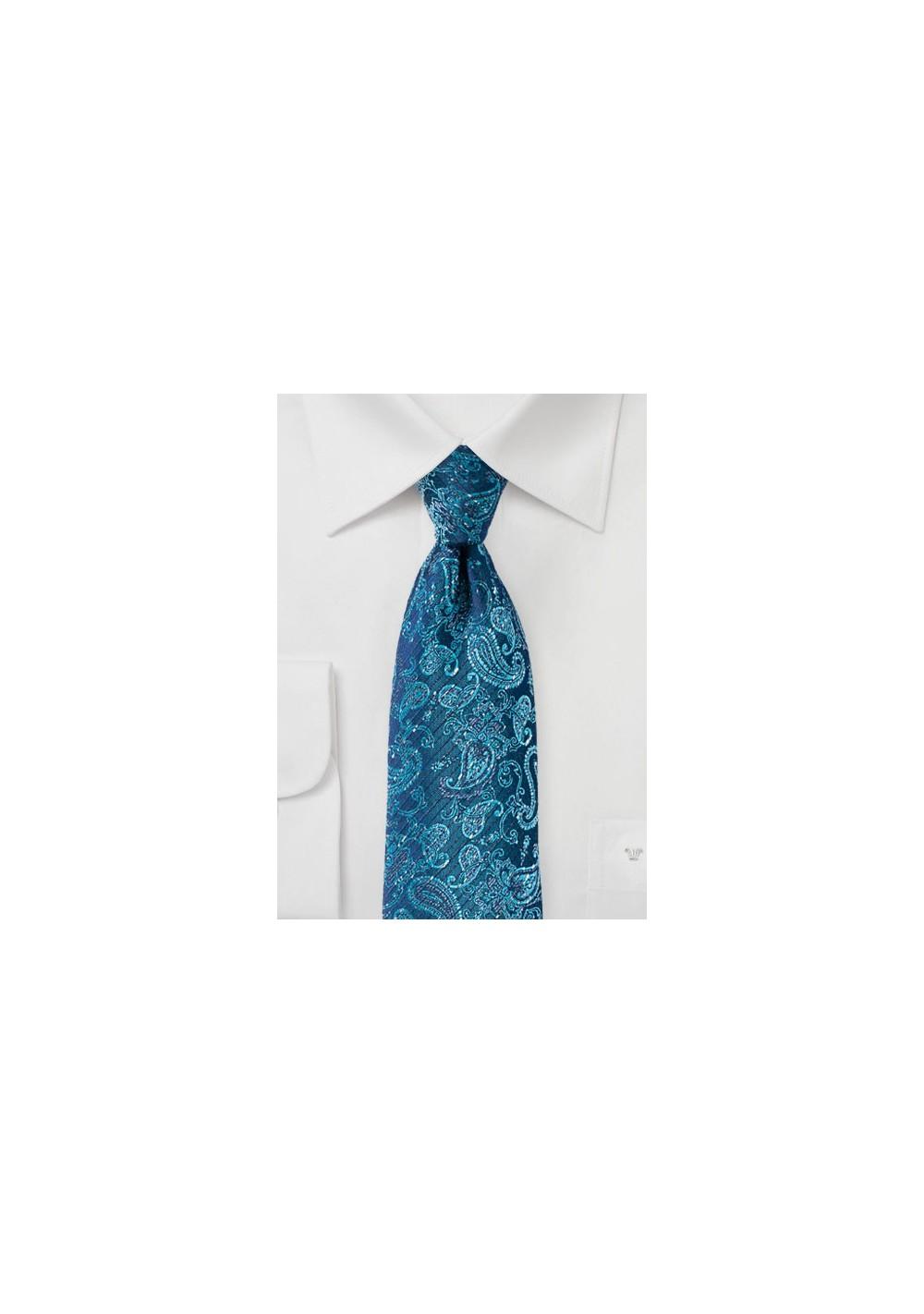 Teal and Aqua Paisley Designer Necktie