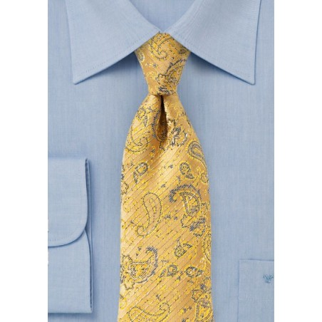 Golden Yellow Textured Paisley Tie