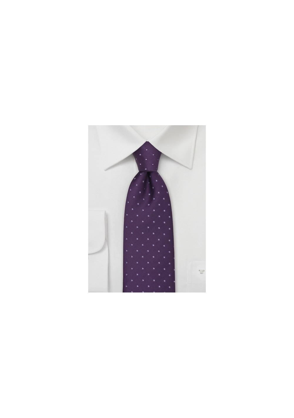 Kids Silk Tie in Purple with Polka Dots