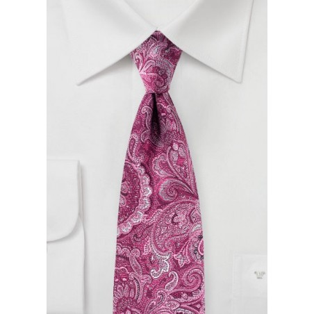 Wild Paisley Tie in Magenta