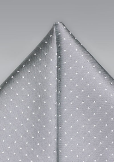Soft Silver Hanky with White Dots