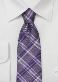 Lavender Colored Plaid Silk Tie