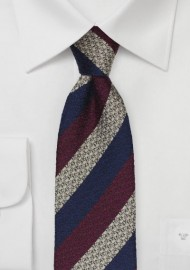 Textured Skinny Tie in Navy, Wine, Gray