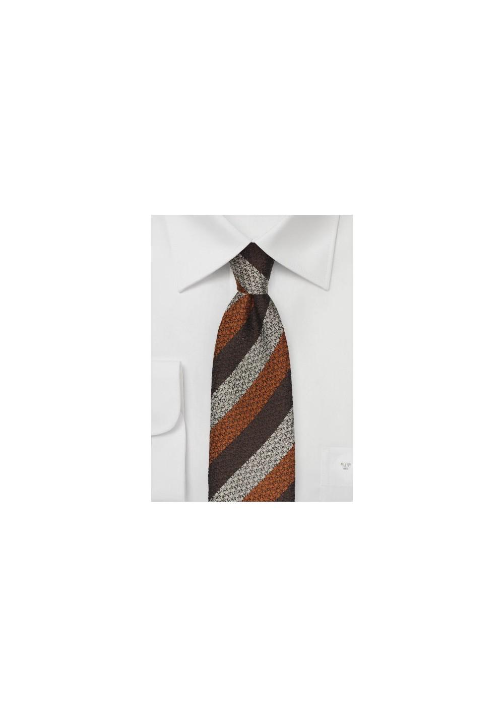 Striped Wool Tie in Brown, Copper, Silver