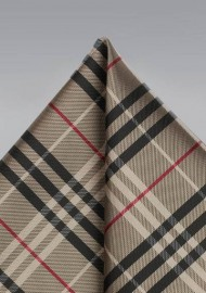 Tartan Pocket Square in Bronze