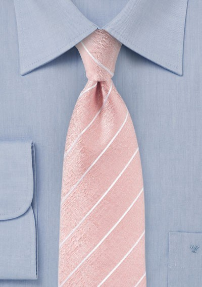 Summer Striped Tie in Coral Pink