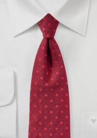 Woven Floral Tie in Cherry Red