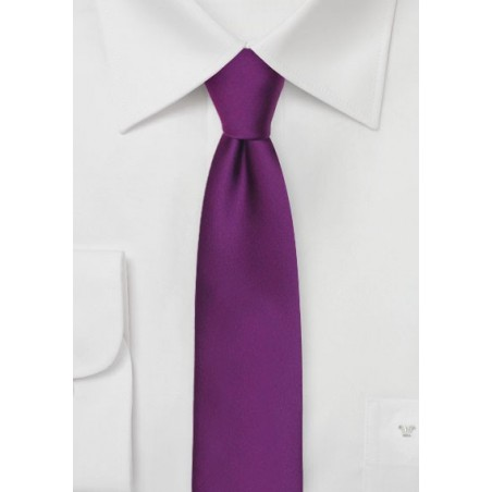 Solid Skinny Tie in Bright Purple