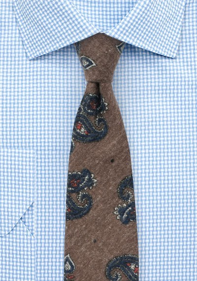 Vintage Paisley Tie in Olive and Navy