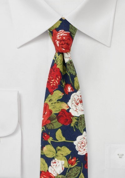 Rose Pattern Tie in Navy, Red, White, and Green