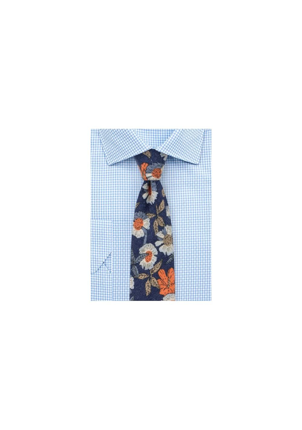 Flannel Cotton Print Tie with Floral Desgin
