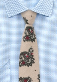 Beige Paisley Tie in Gray and Red