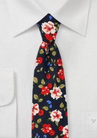 Art Deco Floral Cotton TIe