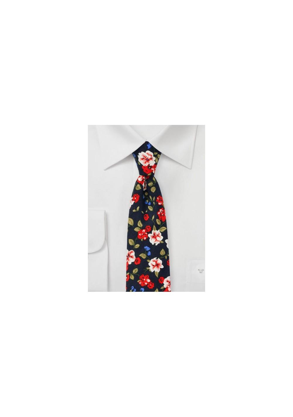 Art Deco Floral Cotton TIe