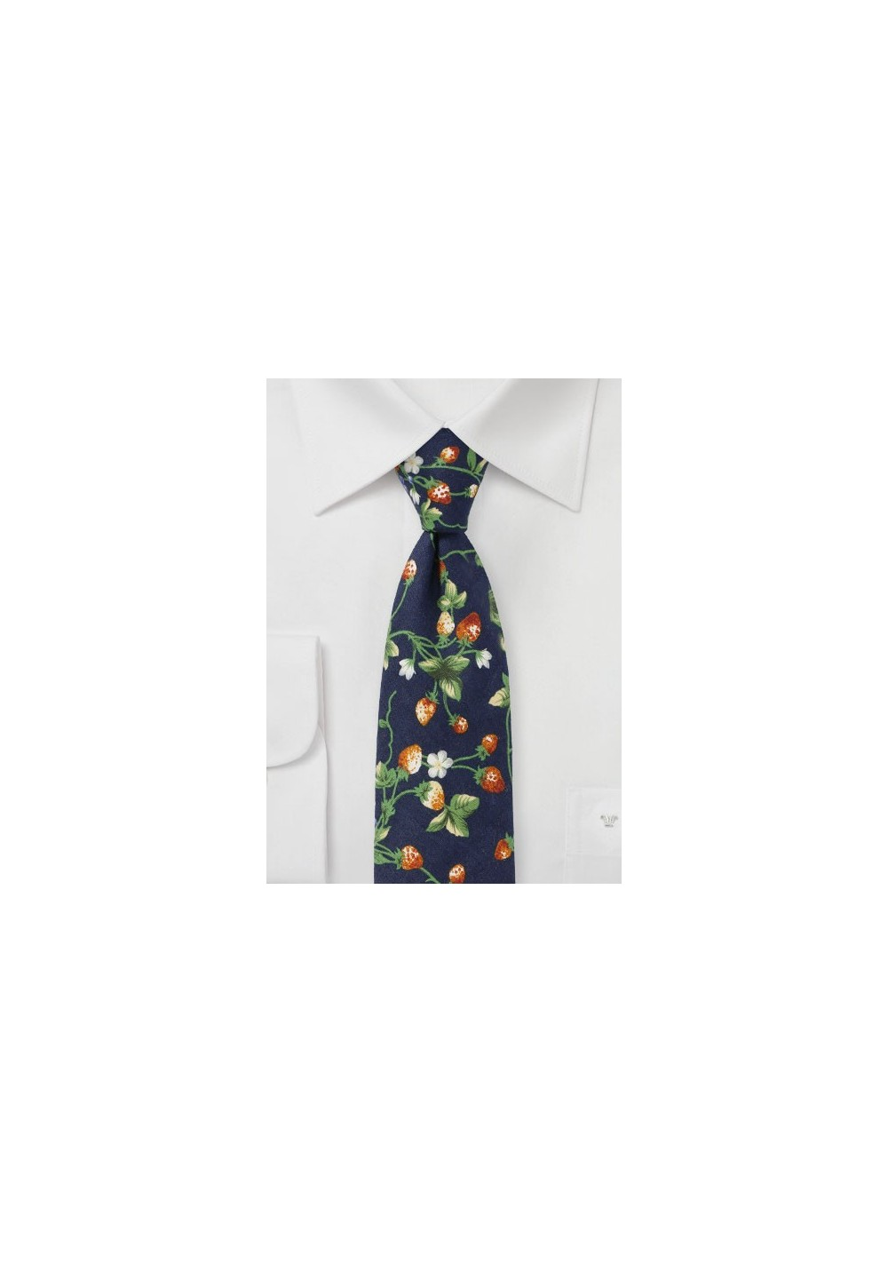 Navy Cotton Tie with Strawberry Pattern