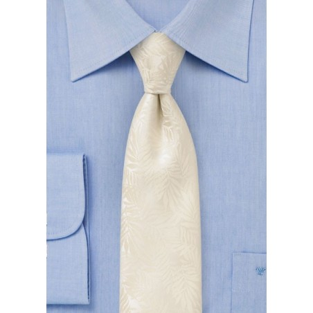Tropical Leaf Tie in Light Vanilla Cream