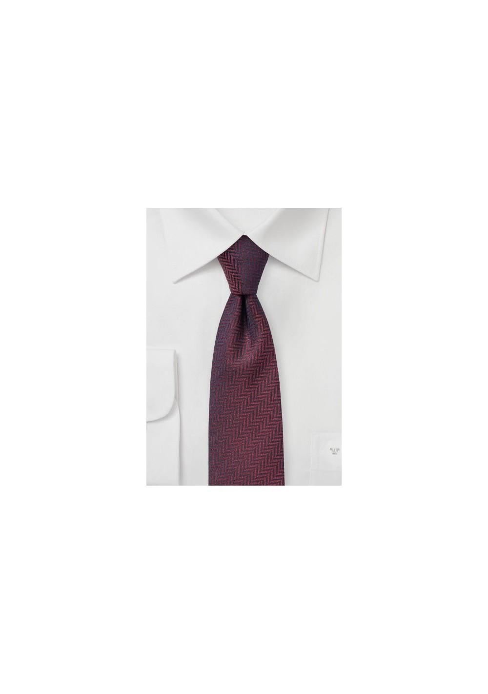 Dark Wine Red Herringbone Tie
