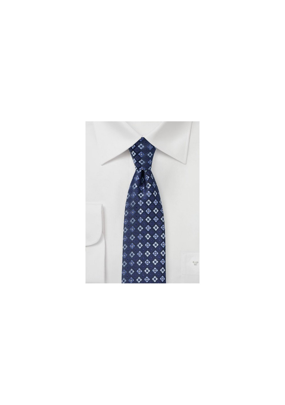 Navy and Royal Blue Checkered Floral Tie