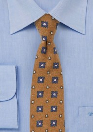 Medallion Print Tie in Tapenade Green